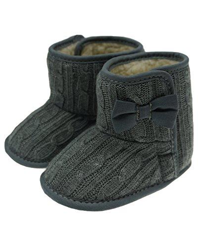 Minetom Bébé Crochet Tricot Bottines Petits Filles Laine Neige Crib Chaussures Bottines de premier pas Chaud Hiver Chaussons Gris