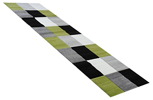 Teppich Läufer Sam Karomuster grün in 80 x 300 cm