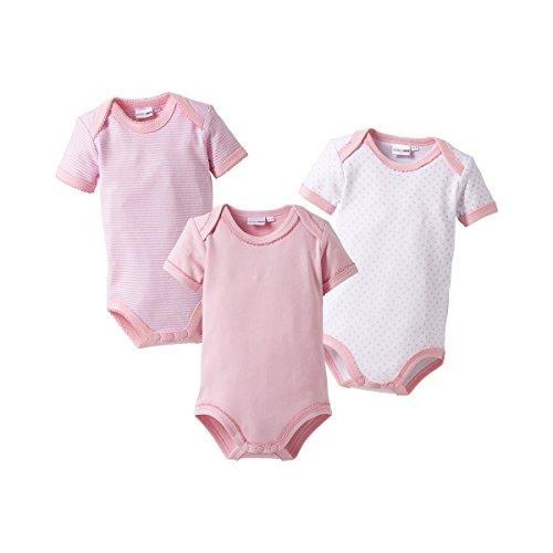 BORNINO 3er-Pack Bodys kurzarm Baby, Größe 74/80, rosa