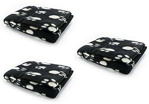3 Copertine in morbido e caldo pile per cani e gatti, colore nero