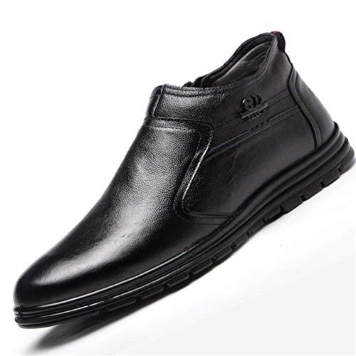 Botas de Nieve para Hombre de Moda de Cuero Suave y Suave con Cremallera de Gran tamaño Casual Zapatos Antideslizantes