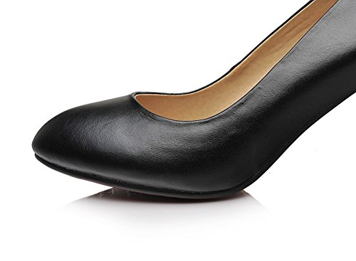 Adee Mesdames pointed-toe Casual Chaussures Pompes en cuir Noir - noir