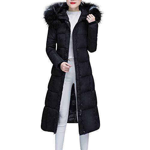 SEWORLD Damen Warm Winterjacke Parka Jacke Mantel Steppjacke Wintermantel Mantel Warmer Faux Fur Mit Kapuze Dicke Warme Dünne Jacke Langer Mantel(W2-schwarz,EU-36/CN-L)