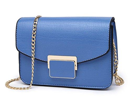 Frauen-Art- Und Weiseketten-kleine Quadratische Beutel-Schulter-Kurier-Beutelhandtaschenkreuz-Körperbeutel-Miniback (4 Farben). Blue