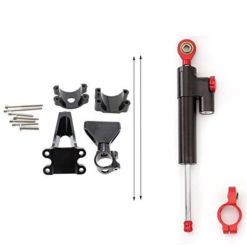 rzmmotor Motorrad CNC Lenkungsdämpfer Stabilisator Puffer Control Bar mit Befestigungsschellen Kit FULL SET Fit für Suzuki GSXR 600750GSR750K401–05 (Honda Schocks)