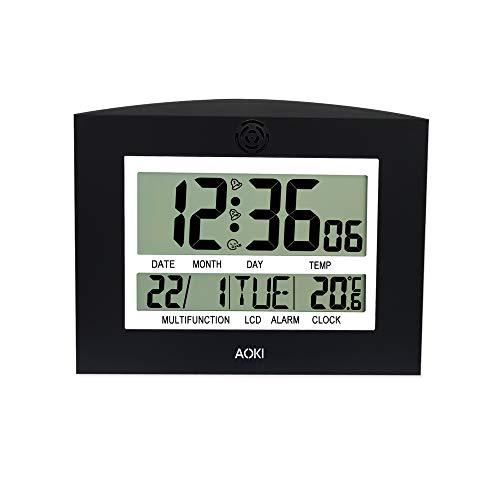 Aoki Grande Orologio da Parete Digitale LCD da Tavolo con Giorno e...