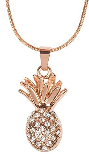 styleBREAKER Halskette mit Ananas Anhänger und Strass, Schlangenkette mit Karabinerverschluss, Schmuck, Damen 05030047, Farbe:Rosegold