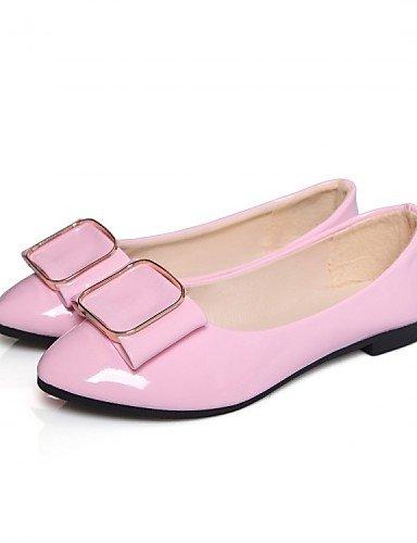 ZQ Damenschuhe - Ballerinas - B¨¹ro / Kleid / L?ssig - Lackleder - Niedriger Absatz - Komfort / Ballerina - Schwarz / Rosa / Wei? pink-us8.5 / eu39 / uk6.5 / cn40
