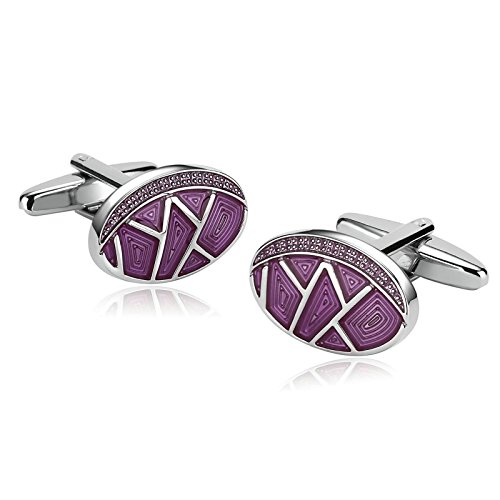 Novità in acciaio inox uomo gemelli banda ovale viola gemelli classici 1.3x2 cm papà scatola di gioielli unici fantasia elegante aooaz