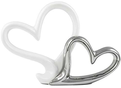 BRUBAKER Skulptur 'Zwei Herzen' Porzellan weiß / chrome 28 cm Breite