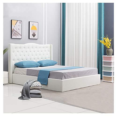 OFCASA Luxuriös Weiß Polsterbett Doppelbett Claire 160 x 200 cm Inklusive Lattenrost, mit Stoffbezug, für Schlafzimmer, Hotel