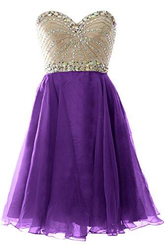 MACloth 2016 Women Strapless Chiffon Short Prom Dress Wedding Party Formal Gown purple