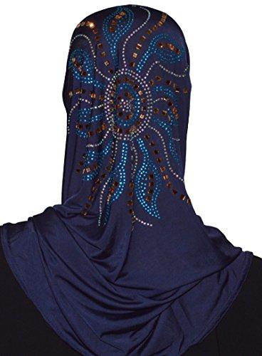 Kopftuch Hijab Khimar Scarf Esarp Islam Arabisch Orientalisch Strass Abaya Amira 14 (Marineblau)