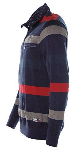 Kitaro -  Felpa  - Collo mao  - Maniche lunghe  - Uomo blu navy