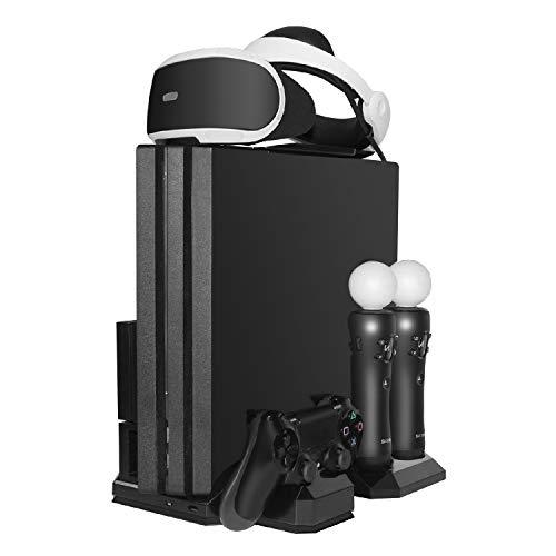 TNP Vertikaler Ständer mit zwei Lüftern für PS4 / Slim / Pro, Ladestation unterstützt Dock Mount Holder für PlayStation VR Prozessor, PS Move Navigationskontrolle, Dual Shock 4 Controller & VR Headset -