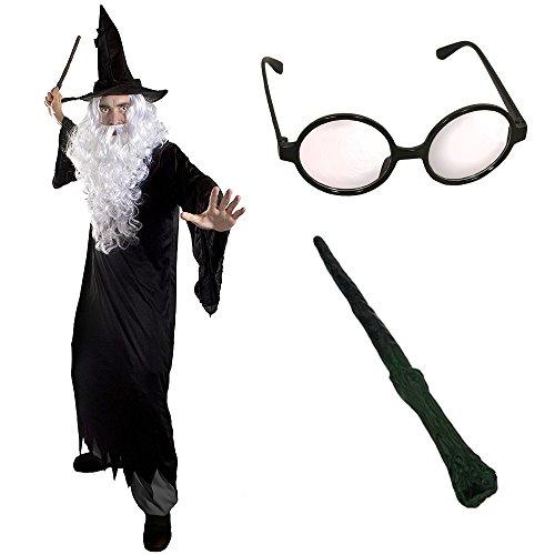 erer HEXER Verkleidung KOSTÜM MAGISCH mit Brille +Hut +Zauberstab= Alle Set BEINHALTETEN PERÜCKE + Bart =Fasching+Karneval = Verschiedene HÜTE =XXLarge-Schwarzer Hut ()
