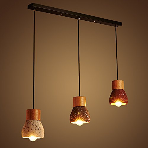 Lampadario di colore solido cemento legno creativo sala da pranzo,Tre (3 Anello Di Pietra Solido)