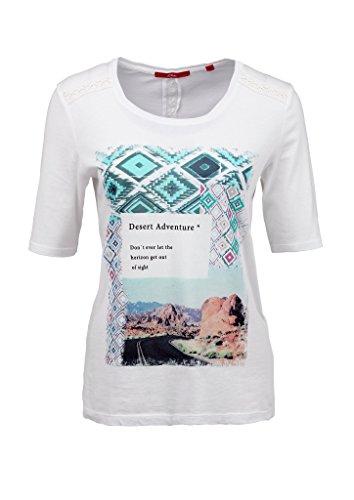 s.Oliver Mit Frontprint, T-Shirt Femme Ecru - Elfenbein (creme placed print 02D1)