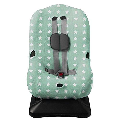 Haton Kinder Autositzbezug Jersey Gr. 1 universal für 3-Punkt und 5-Punkt Gurtsystem (mint mit weißen Sternchen)