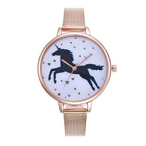 Souarts Damen Armbanduhr Einfach Mesh Metallarmband Flamingo Ananas Einhorn Regenbogen Casual Analoge Quarz Uhr Silber Farbe Einhorn Mädchen Uhr (Rosa gold 3)