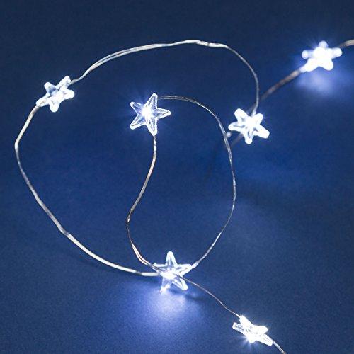 Luminalpark catena decorata 1,9 m, 20 stelle microled bianco caldo, luce fissa e flashing, cavo metal argento, batteria, interno