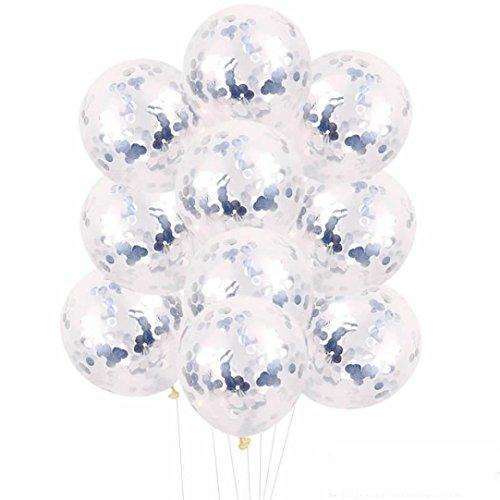 (Dragon868 [10 stücke 12 Zoll Folie Latex Konfetti Ballon Set Hochzeit Geburtstag Baby Dusche;Party Dekoration, Valentinstag,Vatertag Dekoration,Abschlussball. (Silber, Ballon))