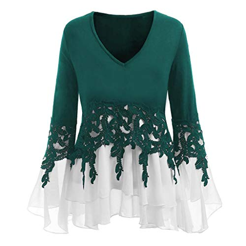 VJGOAL Damen Bluse, (38-46) Damen Mode Applique Patchwork Flowy Chiffon V-Ausschnitt Langarm Casual Party Bluse Tops (36, Grün)