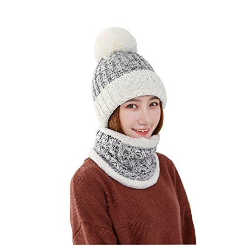 Ropjeam Gorro y bufanda establece sombrero de punto Gorro de invierno para mujeres
