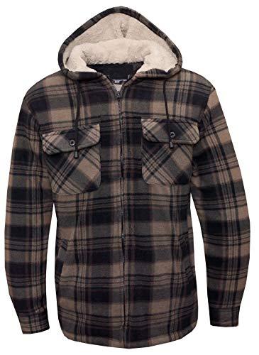 Herren-Kapuzen-Hemd, gefüttert, Polar-Fleece-Kunstfell, Arbeitshemden-Stil, für den Winter, Warm Gr. Large, Design 6 -