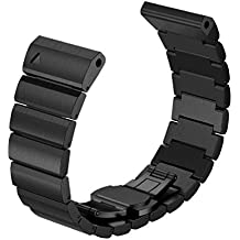 Garmin Fenix 3/HR correas para reloj - Sannysis correas para relojes, Acero inoxidable de Banda, color negro