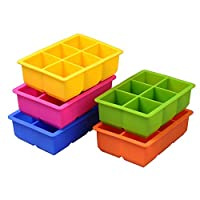 Youkara Random Color 6-Cavity Large Silicone Drink Ice Cube Pudding Jelly Mold Mould Tray Tool