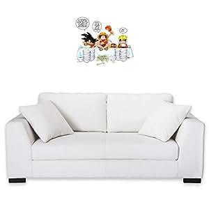 Sticker Mural 55 cm Manga - Parodie One Piece / Naruto / Dragon Ball Z - Manger, Cogner, dormir, la recette du bon shonen :) - Stickers Déco Blanc - Haute Qualité (488)