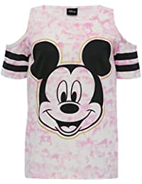 M&Co Mickey Mouse Teen Girl 100% Cotton Pink Tie Dye Print Character Cold Shoulder T-Shirt