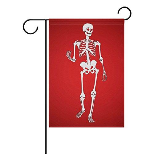 MUMIMI Happy Skelett Garten Flagge 30,5x 45,7cm Zwei-seitige Hof Dekoration Polyester tolle Bilder Flagge, mehrfarbig, ()