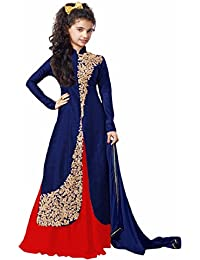 FASHION VOGUE_ New Baby Girl Girls Indo Western Dress Blue Color Embroidery Semi-stitched Party Wear Salwar Suit...