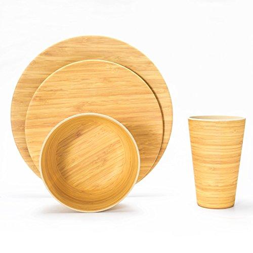 LEKOCH 16-teilige Bio Bambus Umweltfreundlich Camping Geschirr Set für Picknick/BBQ Grill/Fest / Camping/Party Set mit Teller, Salatteller, Suppenschüssel und Becher für 4 Personen