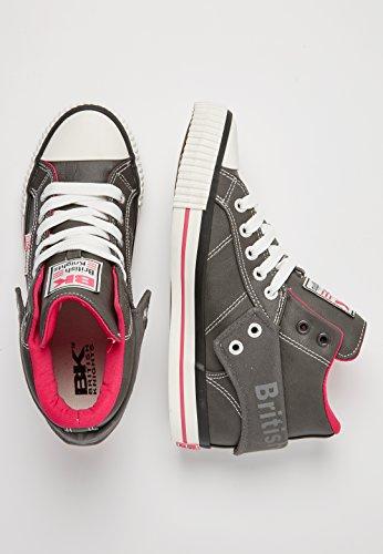 British Knights Damen Roco Hohe Sneaker Grau (Dk Grey/Fuchsia)