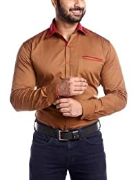 Party Wear Shirts For Men By Mark Pollo London (Light Brown)