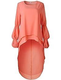 HWTOP Sweatshirt Pullover Tops Bluse Damen Oversize Oberteil Langarmshirt Hemd T-Shirt Einfarbig Sweatshirt Tops Frauen Shirt O-Ausschnitt mit Blumen Lose Asymmetrische Saum Rüschen Bluse