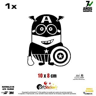 Artstickers Sticker Minion Captain America, Vinyl, schwarz, 1 Stück 10 cm x 8 cm SPILART Geschenk