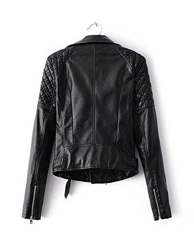 SaiDeng Veste En Cuir Longue Manches Fermeture Éclair Courte Blazer Veste Biker Pour Femme Noir