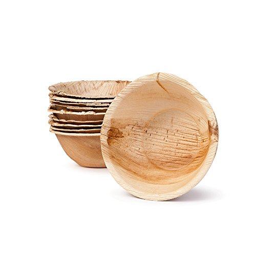 BIOZOYG Umweltfreundliches Einweggeschirr aus Palmblättern | Palmblatt Schale rund | Salat-Schüssel Dipschalen Suppenschale Servierschale Snackschale Einwegschale