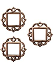 Art Street Set of 3 Decorative Square Black Wall Mirror for Living Room