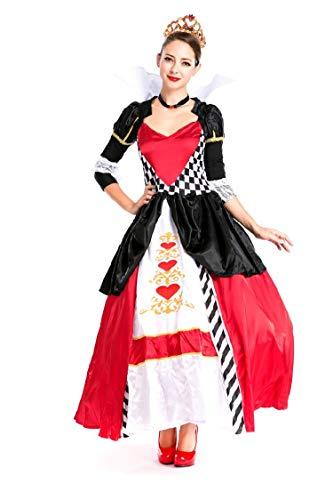 Simmia Halloween Kostüm,Halloween - Kostüm Rotes Herz Königin Kleid Aristokrat Königin Schneewittchen, Wie Gezeigt, U