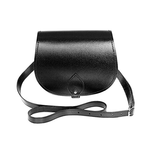 Zatchels Damen Leder Umhängetasche, klein, handgefertigt in Großbritannien Schwarz