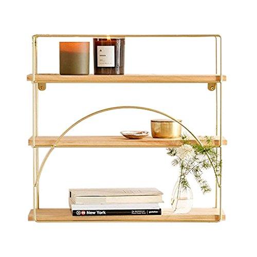 Schmiedeeisen-rahmen (Brilliant firm Schweberegale Rack Metall Metall Wohnzimmer Regal Schindel Sukkulente Rack Schmiedeeisen Rahmen (Color : Gold, Size : 60*15*70cm))