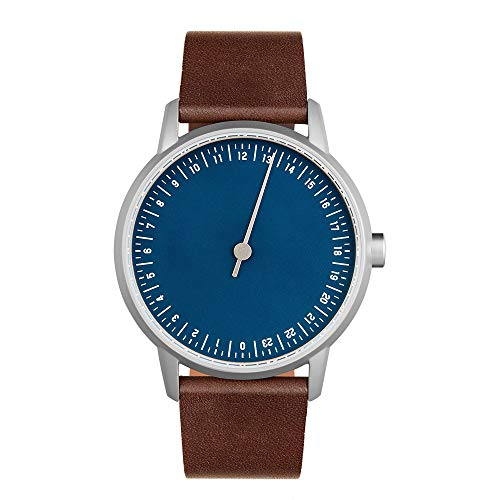 slow Round 13 - Dark Brown Leather, Silver Case, Blue Dial