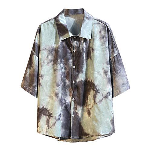ODRD Herren T Shirts, Oversize Shortsleeve Herren Sommer Casual Hawaiian Style Printlose Kurzarm Shirt Tops Bluse Vintage Jugend Blouse Tops Basic Shirt (Jugend Hawaiian Shirt)