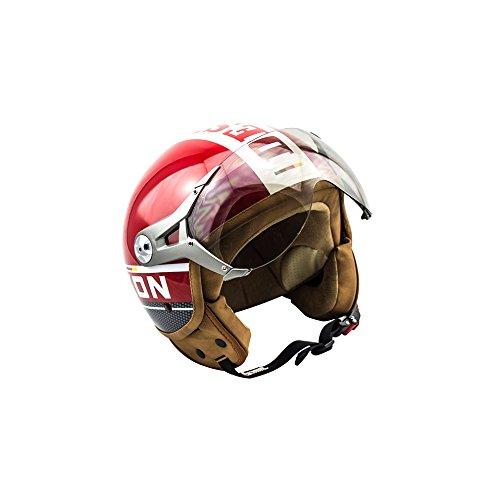SOXON SP-325-PLUS Red · Pilot Mofa Scooter-Helm Retro Bobber Chopper Helmet Biker Roller-Helm Jet-Helm Vespa-Helm Motorrad-Helm Vintage...