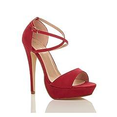 Idea Regalo - Donna tacco alto fibbia cinturini incrociati scarpe punta aperta sandali taglia 7 40